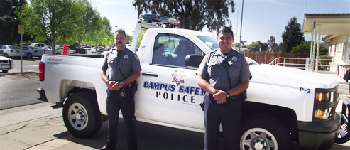 Campus safety vehicle with two officers