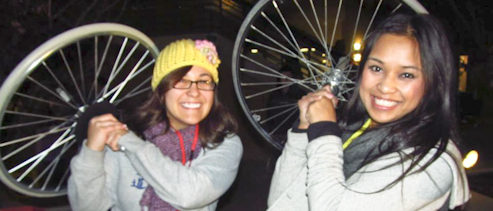 MESA Students with bicycle wheels