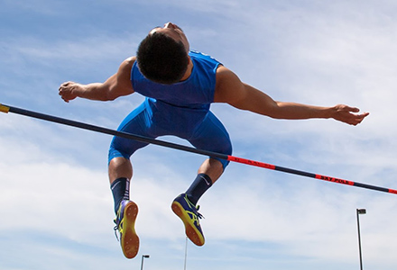 Athlete doing a high jump