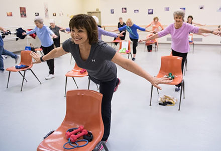 Woman leading a fitness class