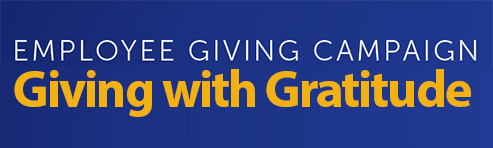 "Text: ""Giving with Gratitude"" Employee Giving Campaign"