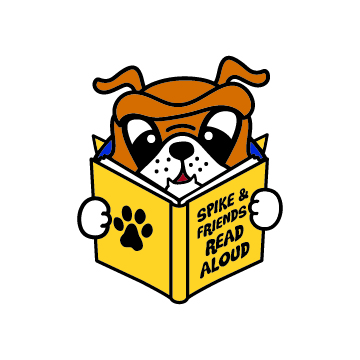 Logo featuring Spike reading a book out loud
